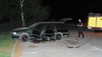 Bilbrand vid Lundåkra avfarten