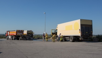 Lastbilsbrand på Milstolpen