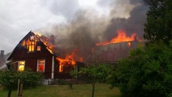 Övertänd villa utanför Kvidinge