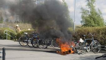 Mopedbrand på Häljarps tågstation