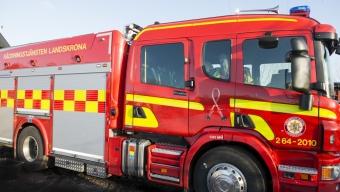 Första larmet med nya brandbilen
