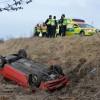 Bil voltade av E6 – Tre till sjukhus