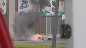 Motorcykel brann på Dammhag