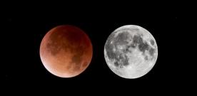 Blodmåne på måndag morgon