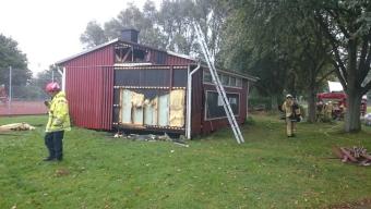 Anlagd brand i barack