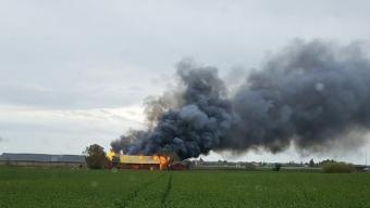 Kraftig gårdsbrand i Marieholm