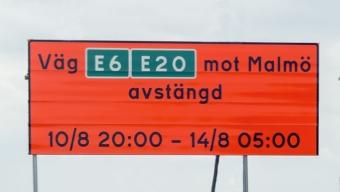 E6 avstängd mellan Landskrona S – Lundåkra