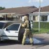 Bil började brinna under färd