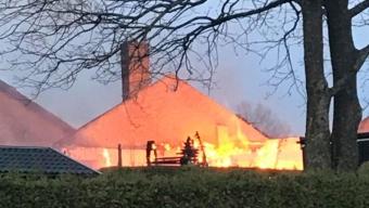 Kraftig villabrand i Marieholm