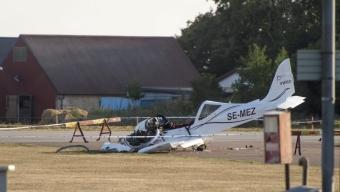 Flygplan kraschlandade på Enoch Thulins flygplats