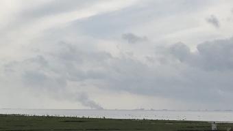 Röken från dansk storbrand syntes flera mil