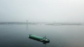 Fartyg på grund i rännan
