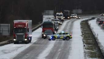 E6: Flera trafikolyckor i halkan