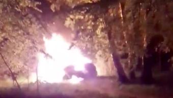 Bilbrand vid Granet