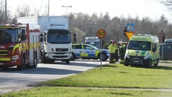 Olycka mellan cyklist och lastbil
