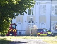 Brand i lusthus vid Montessori