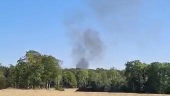 Rundbalspress brinner norr om Svalöv