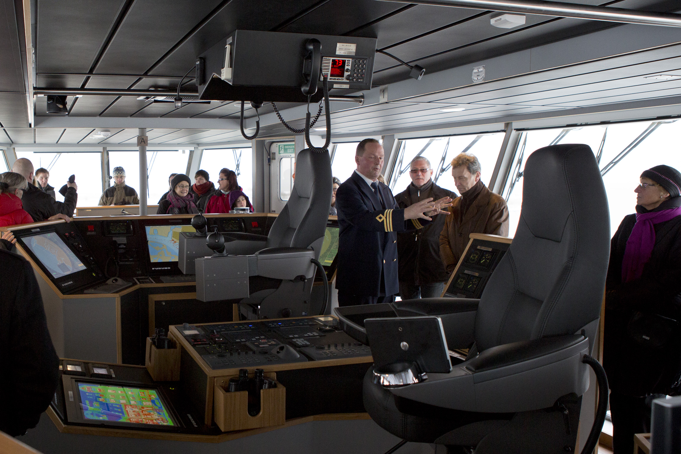 Bryggan visas upp utav en av ventrafikens skeppare