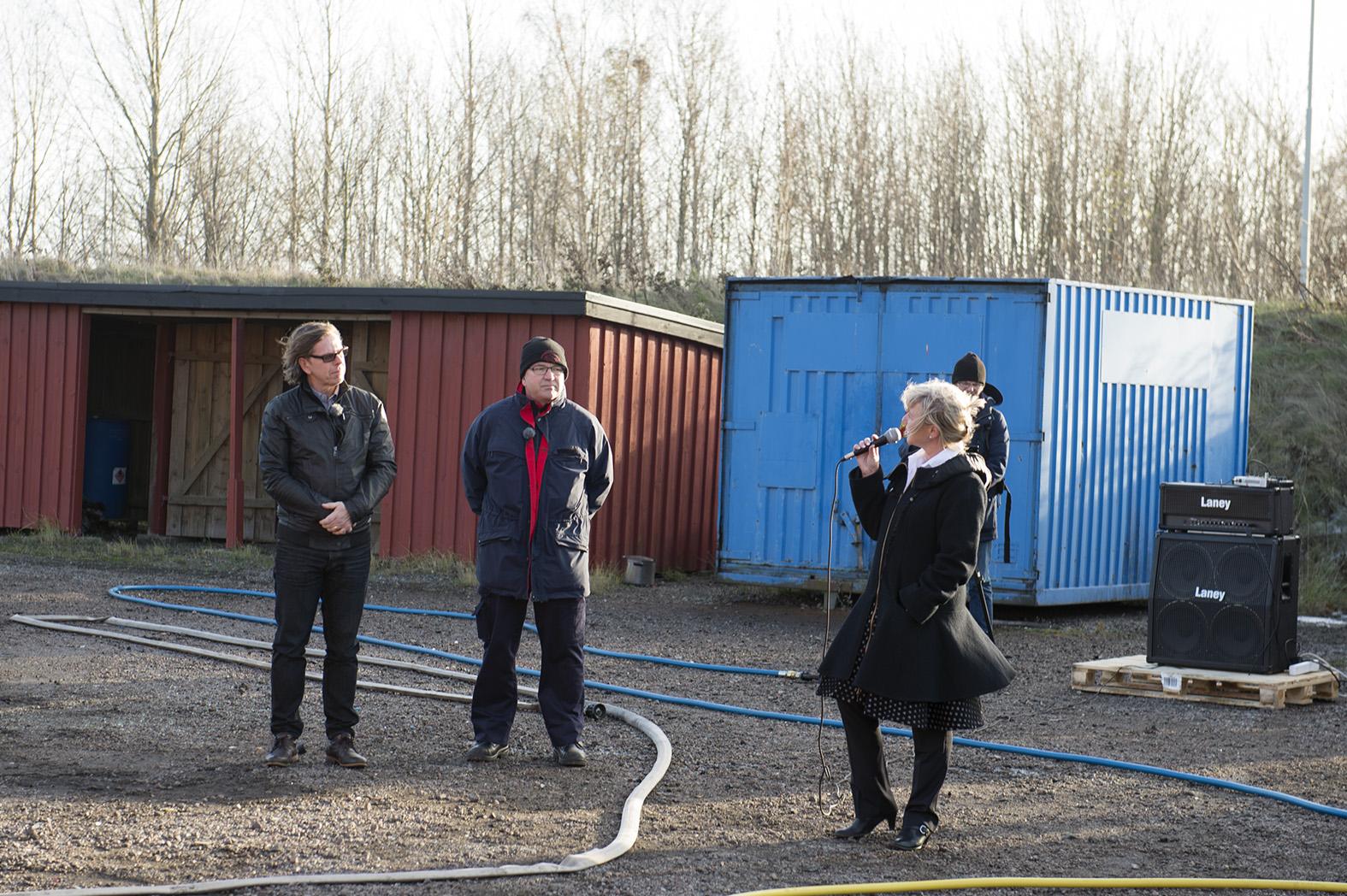 Brandmästare Uffe Bergh och Räddningschef Eva Lövbom tillsammans med Flobys VD