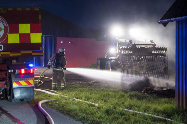 Brand i halmbalar Billesholm