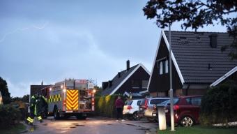 Villabrand efter blixtnedslag