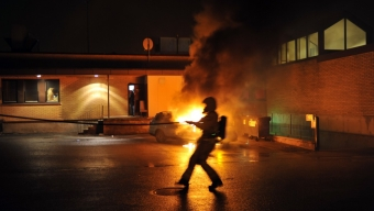 Bilbrand bakom Karlslunds pizzeria
