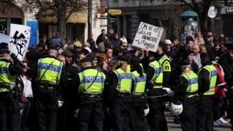 ND protestera på Rådhustorget