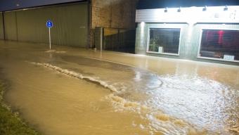 Omfattande vattenläcka i industriområdet