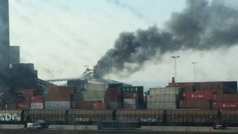 Dammexplosion orsakade brand