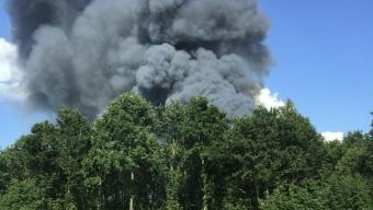 Kraftig ladugårdsbrand i Helsingborg