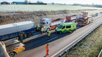 E6: Lastbilsolycka vid Rydebäck
