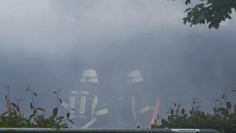 Brand i garagelänga i Rydebäck